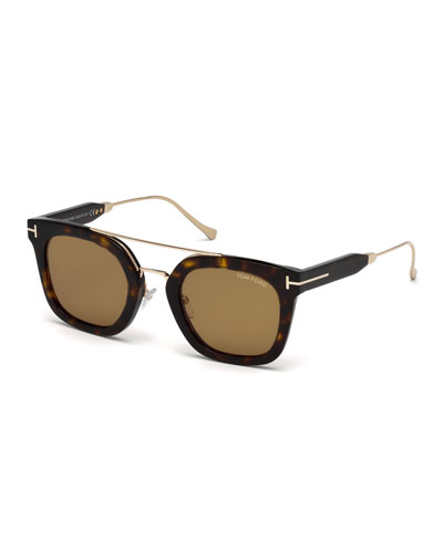 Alex Acetate & Metal Square Sunglasses, Dark Havana/Shiny Rose Gold/Vintage ...