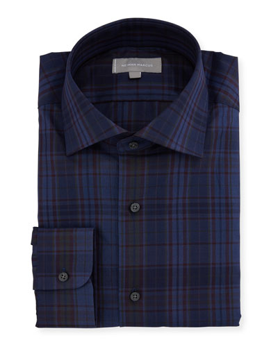 Overdye Plaid Dress Shirt