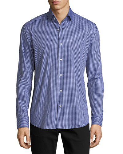Gingham Long-Sleeve Sport Shirt, Light Blue
