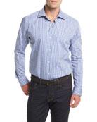 Small Check Long-Sleeve Sport Shirt, White/Blue