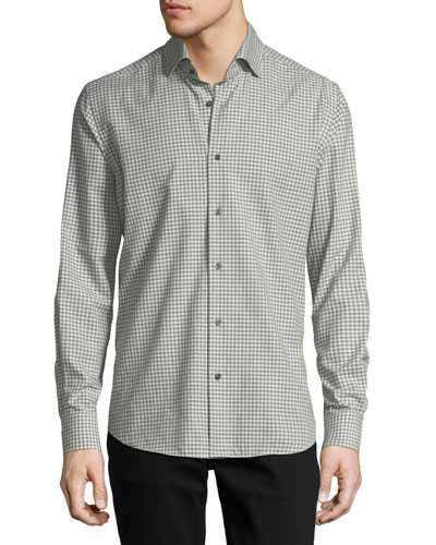 Gingham Long-Sleeve Sport Shirt, Ivory/Gray