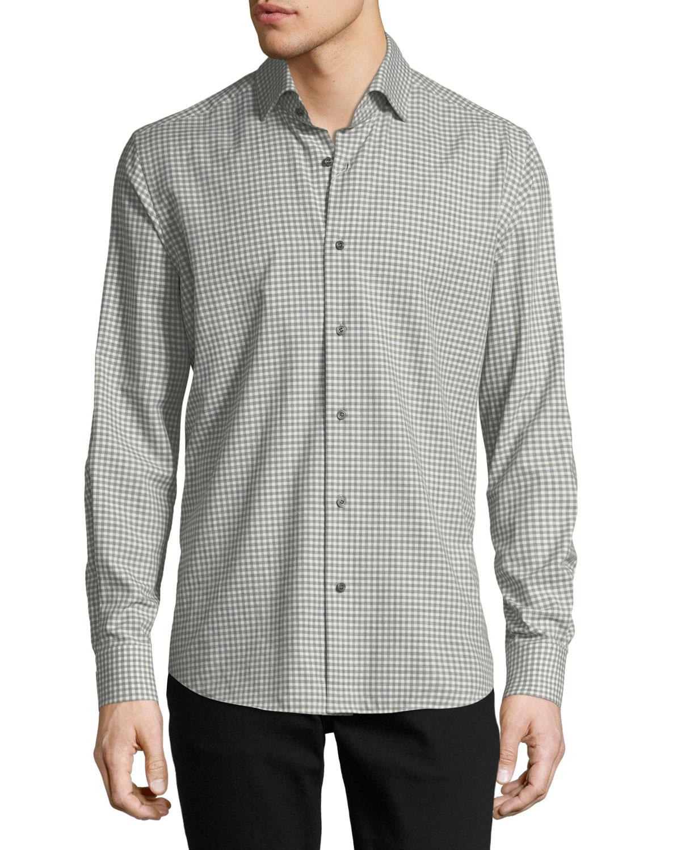Gingham Long-Sleeve Sport Shirt, Ivory/Gray