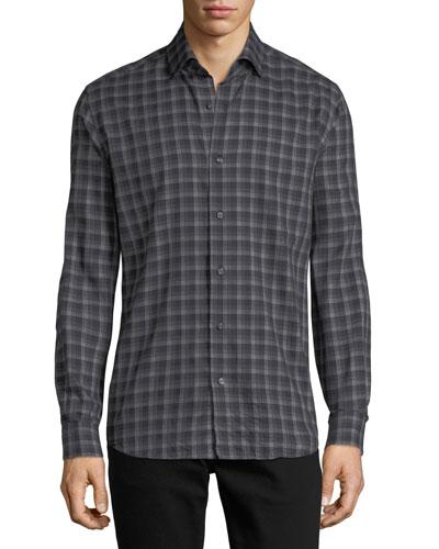Multi-Striped Sport Shirt, Black/Gray