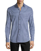 Gingham Long-Sleeve Sport Shirt, Blue/Gray
