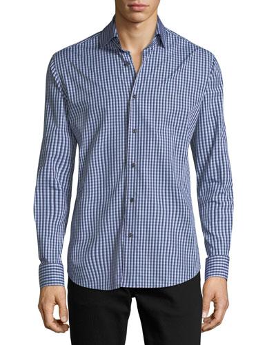 Gingham Long-Sleeve Sport Shirt, Blue/Gray