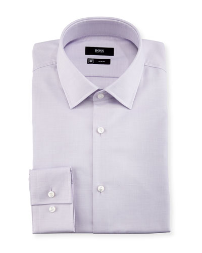 Textured Solid Slim-Fit Travel Dress Shirt, Lavender