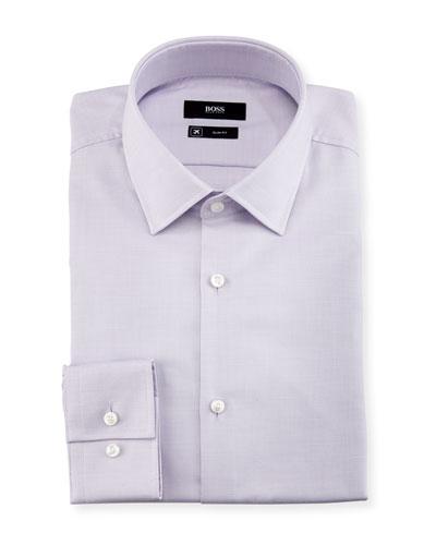 Textured Solid Slim-Fit Travel Dress Shirt, Lavender
