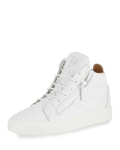 Men's Pyramid Leather Mid-Top Sneakers, White