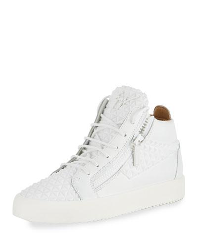 GIUSEPPE ZANOTTI Men'S Pyramid Leather Mid-Top Sneakers, White
