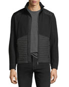 Knit Zip-Front Cardigan with Quilted Panels