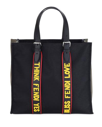 Men's Vocabulary Nylon & Leather Tote Bag