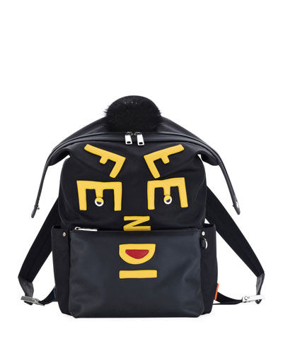 Vocabulary Monster Nylon & Leather Backpack
