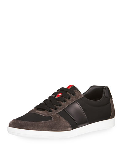 Linea Rossa Nylon Low-Top Sneaker with Leather & Suede