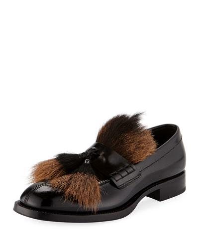 Spazzolato Goat-Fur Tassel Loafer