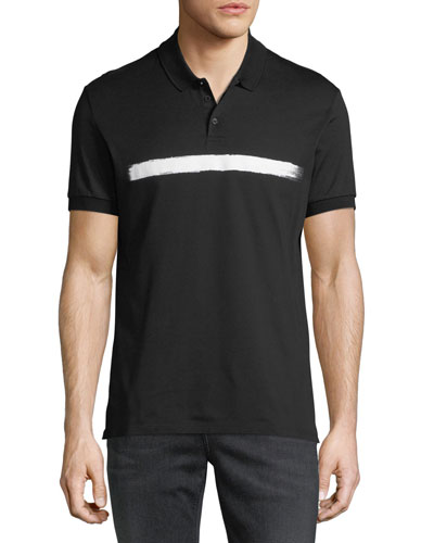 Brushstroke Stripe Piqué Polo Shirt