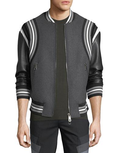 Wool Varsity Bomber Jacket w/ Faux-Leather Sleeves