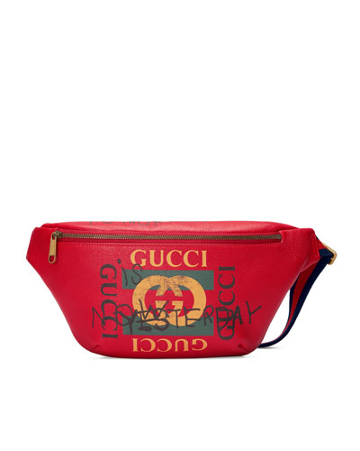 Gucci-Print Leather Belt Bag