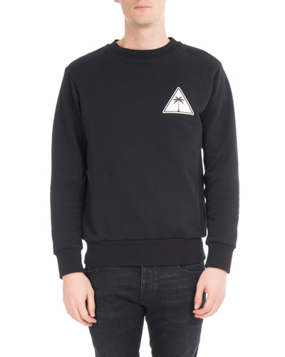 Palm Icon Cotton Sweatshirt, Black/White
