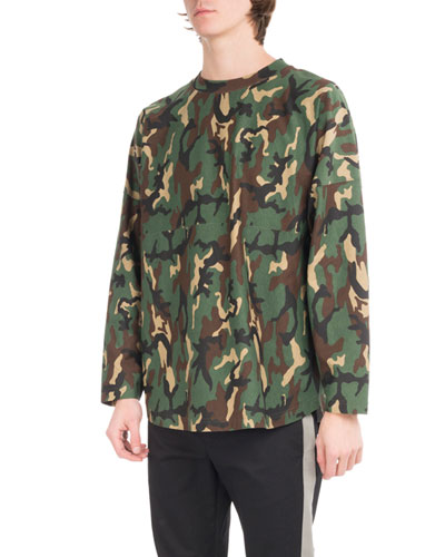 Camouflage Logo Long-Sleeve Cotton T-Shirt, Green