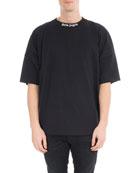 Oversized Cotton Logo T-Shirt, Black/White
