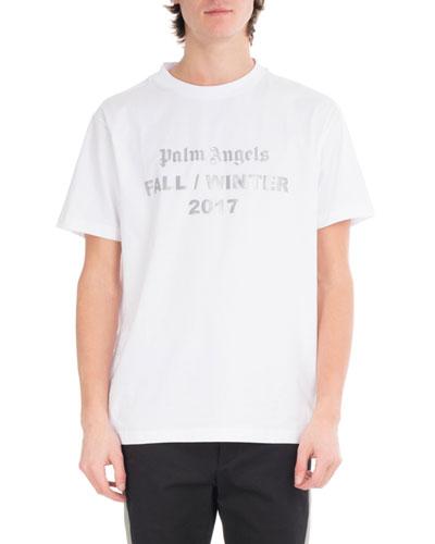 Reflective Logo Cotton T-Shirt, White