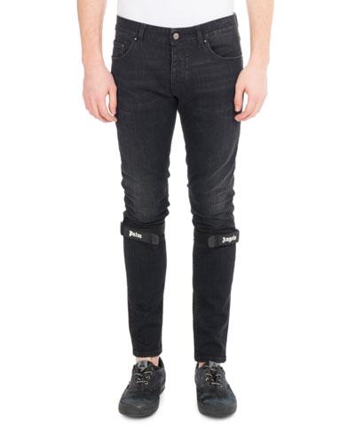 Logo-Strap Denim Skinny Jeans, Black