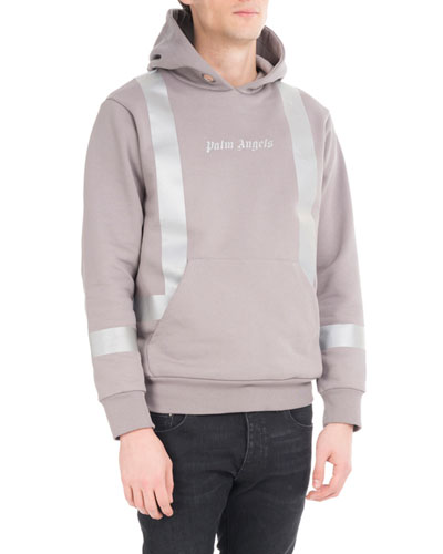 Metallic-Stripe Cotton Hoodie, Gray
