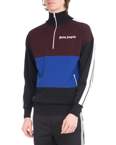 Colorblock Quarter-Zip Track Pullover, Multicolor