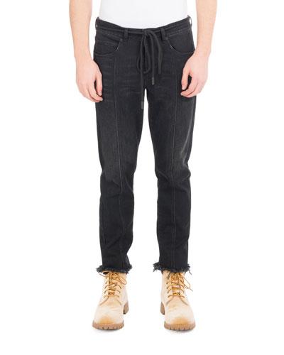 Checker Denim Cropped Straight-Leg Jeans