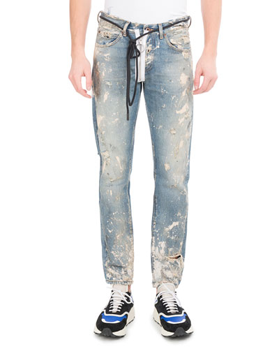 Diagonal Arrows Slim Vintage Paint Jeans