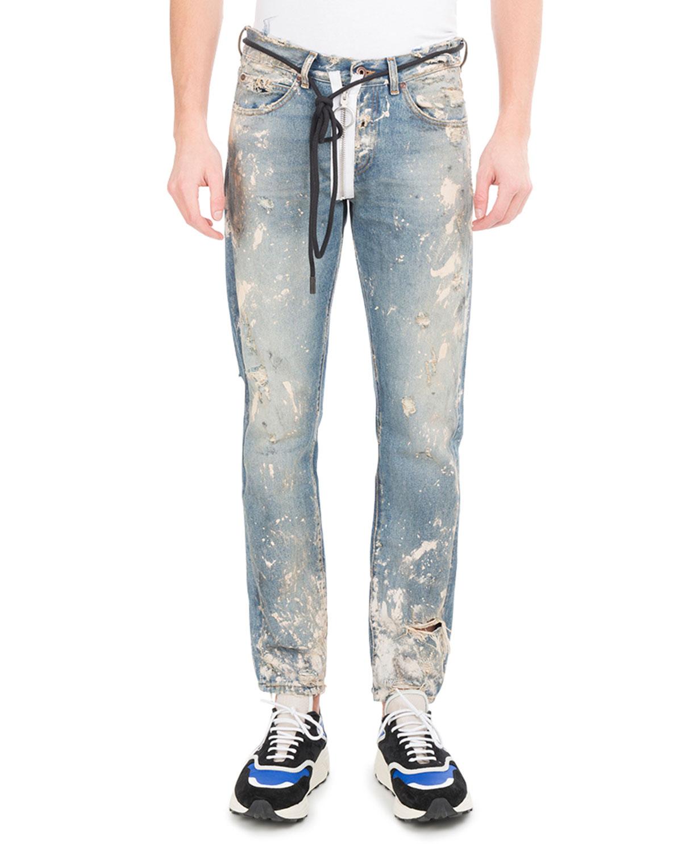 Diagonal Arrows Slim Vintage Paint Jeans