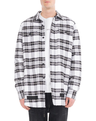 Diagonal Arrows Distressed Check Shirt