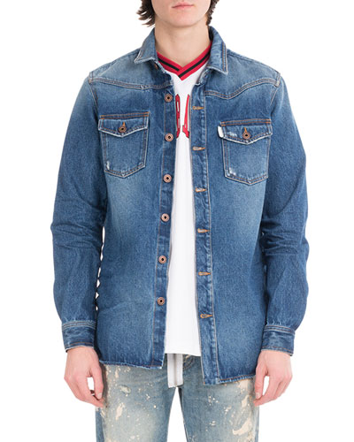 Diagonal Window Denim Shirt