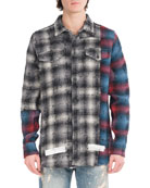 Mixed-Flannel Plaid Shirt