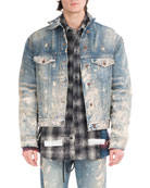 Painted-Splatter Oversized Denim Jacket