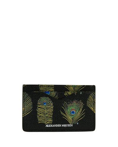 Peacock Feather Leather Card Case, Black/Multicolor