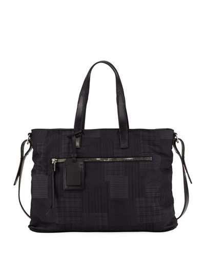Plaid-Print Nylon Shopper Bag