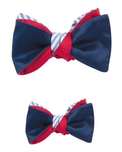 Father & Son Satin & Striped Seersucker Reversible Bow Tie Set