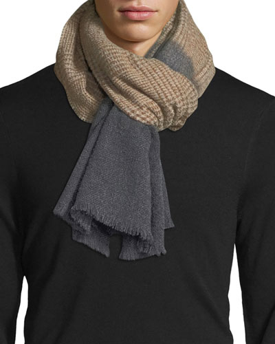 Cashmere/Alpaca Houndstooth Scarf with Solid Trim