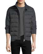 Aramis Wool-Paneled Nylon Puffer Jacket