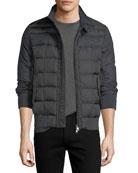 Moncler Aramis Wool-Paneled Nylon Puffer Jacket