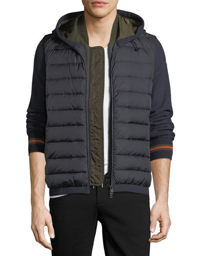 Double-Zip Puffer Cardigan w/ Hood