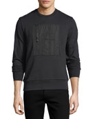 Patch-Pocket Cotton Crewneck Sweatshirt