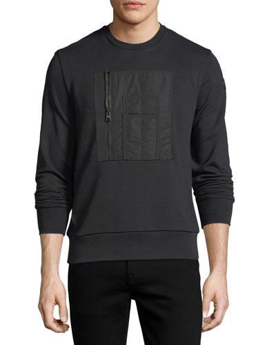 Patch-Pocket Cotton Crewneck Sweatshirt