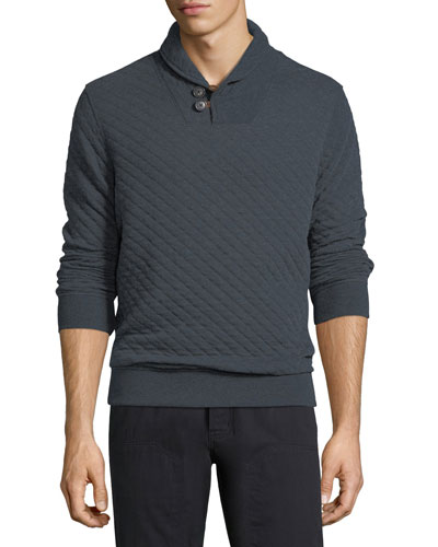 Quilted Shawl-Collar Pullover