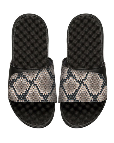 ISLIDE Snakeskin-Print Slide Sandal in Black Pattern