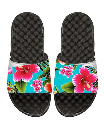 ISLIDE Kauai Tropical Floral Slide Sandal in White Pattern