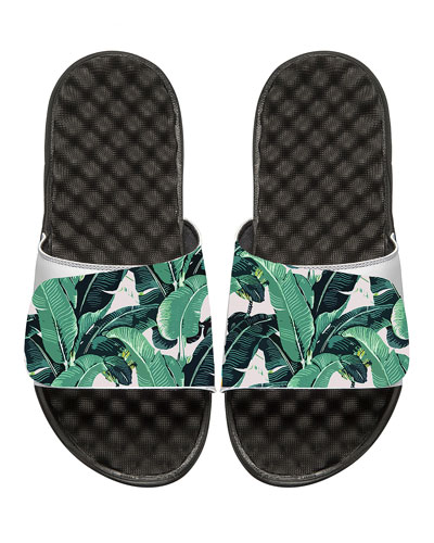 ISLIDE Tropical Banana Leaf Slide Sandal in White Pattern