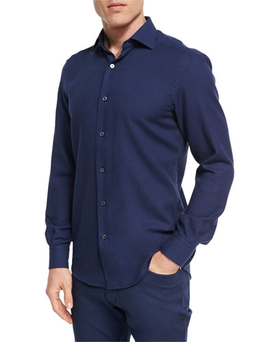 Cotton-Cashmere Button-Front Shirt