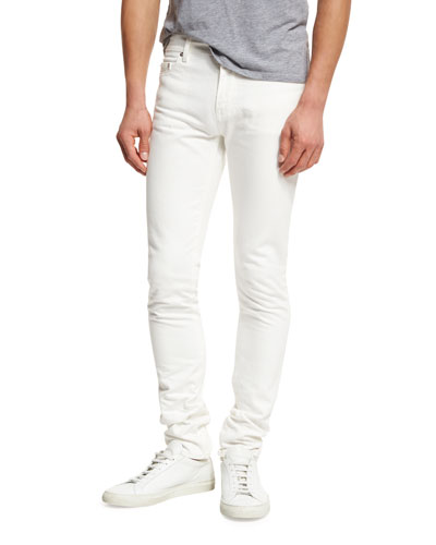 Low-Rise Stonewash Denim Skinny Jeans